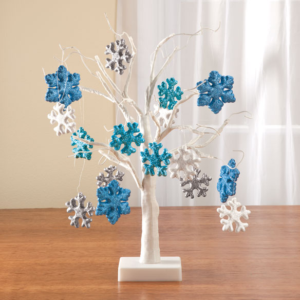 """White Wire 18"""" Tree with Snowflake hanging ornaments"""