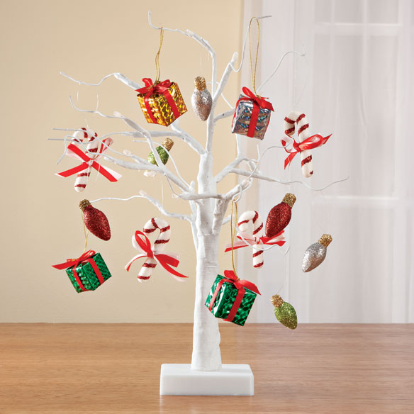 """White Wire 18"""" Tree with Classic Christmas hanging ornaments"""