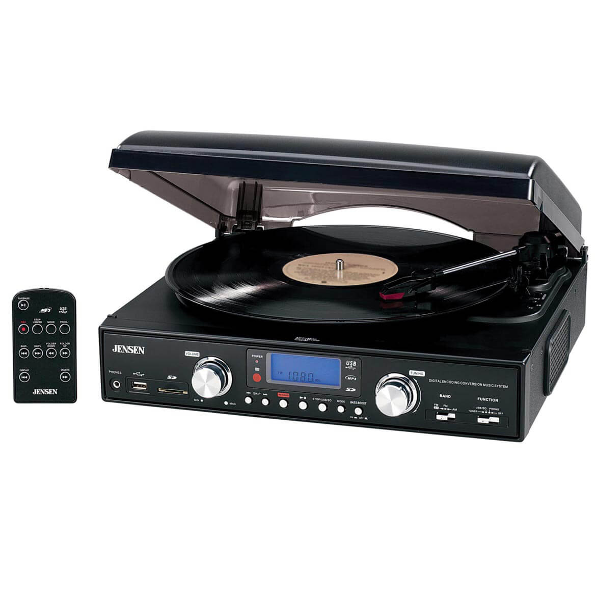 Jensen® 3 Speed Turntable with AM/FM Radio & MP3 Encoding