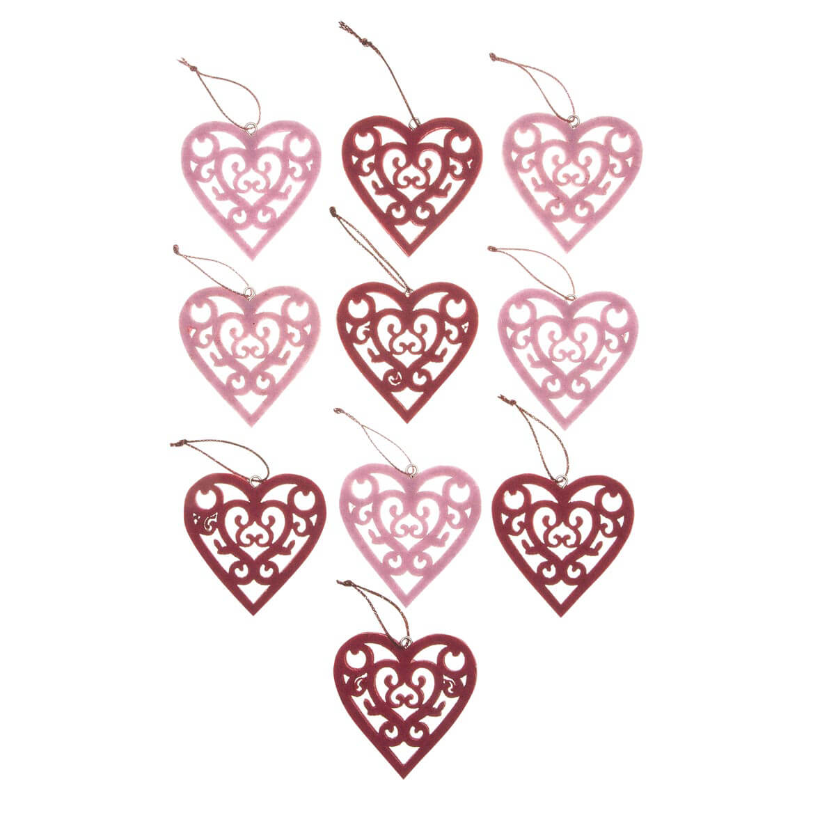 Valentine's Day Ornaments, Set of 10-358082