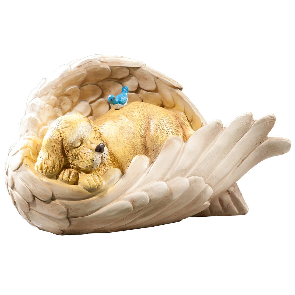 Resin Dog in Angel Wing Statue