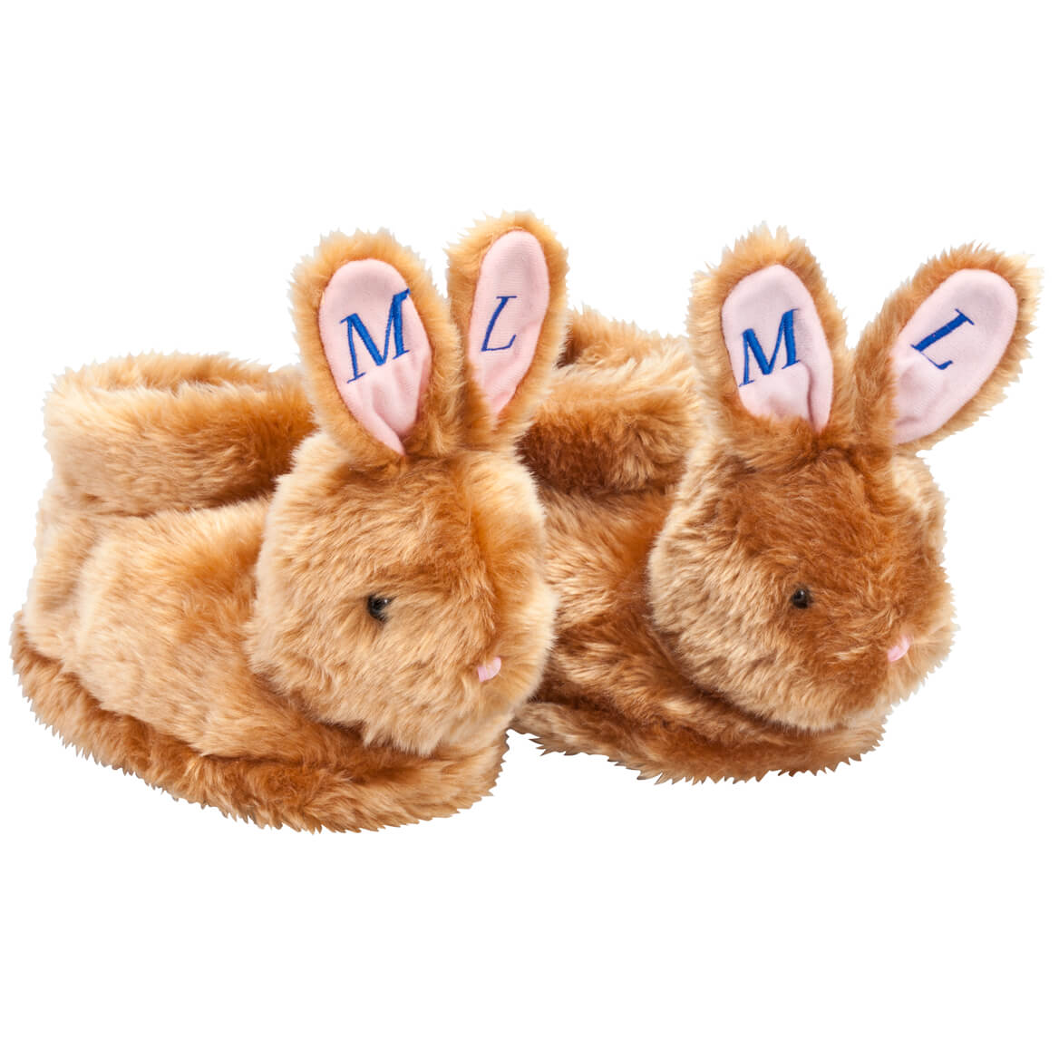 Personalized Brown Plush Bunny Slippers