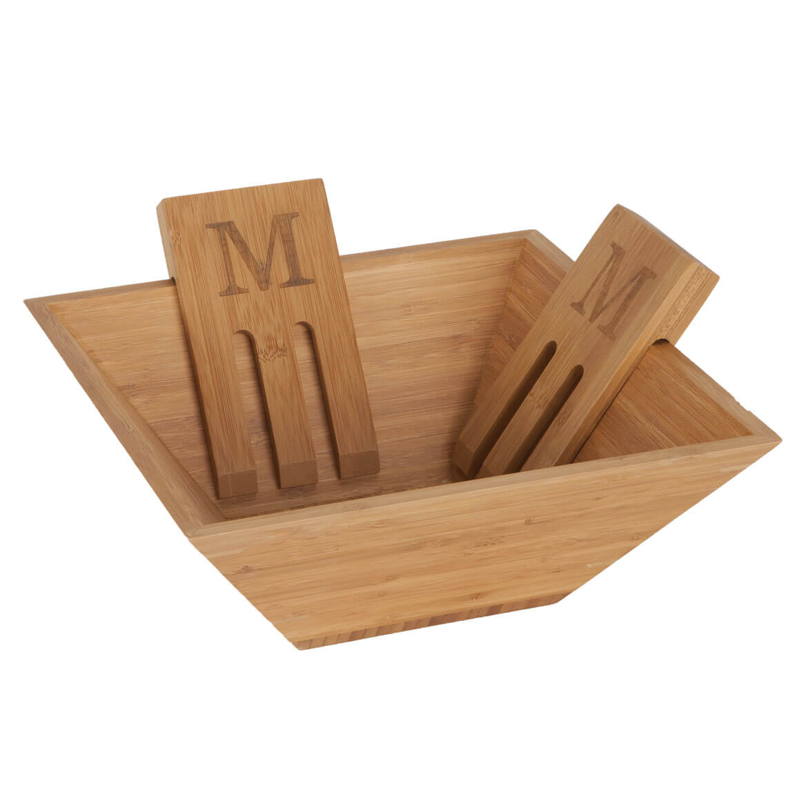 Personalized 3pc Bamboo Salad Bowl Set