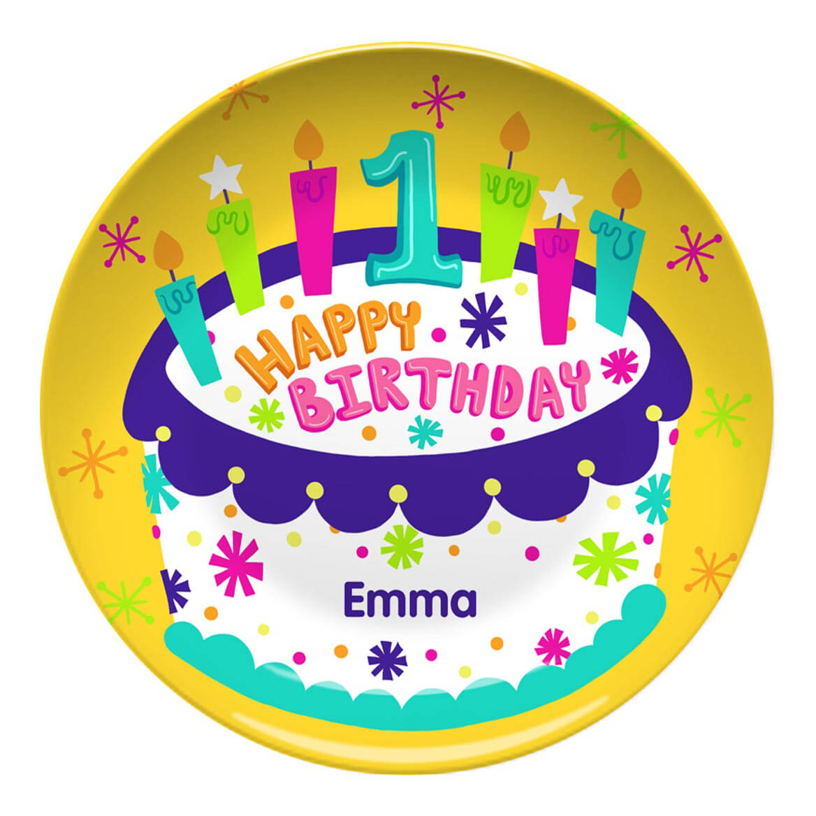 Personalized Happy 1st  Birthday Plate