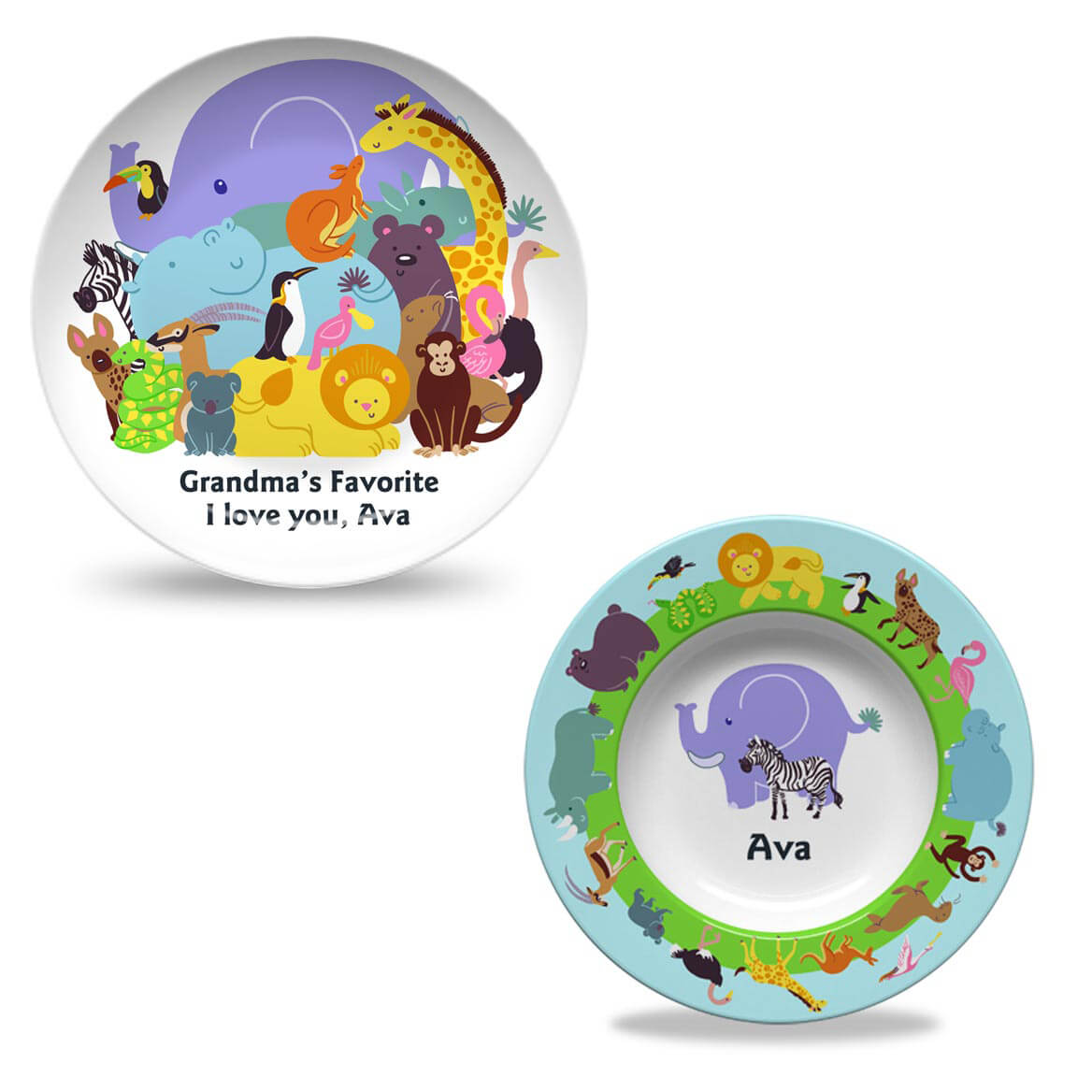 Personalized Trip to the Zoo Plate and Bowl