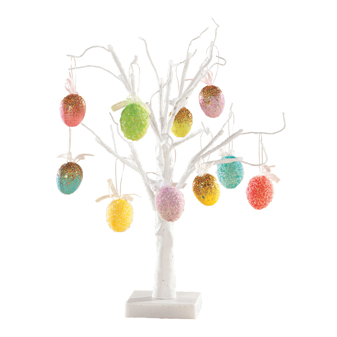 White Wire Tree and Easter Ornaments, Set of 10