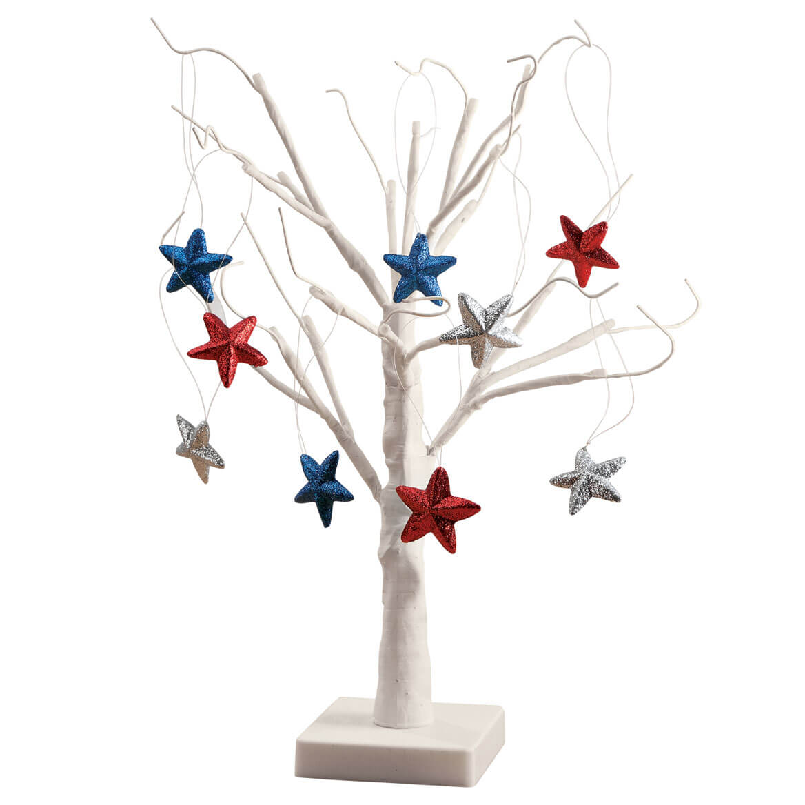 White Wire Tree and Patriotic Ornaments, Set of 9