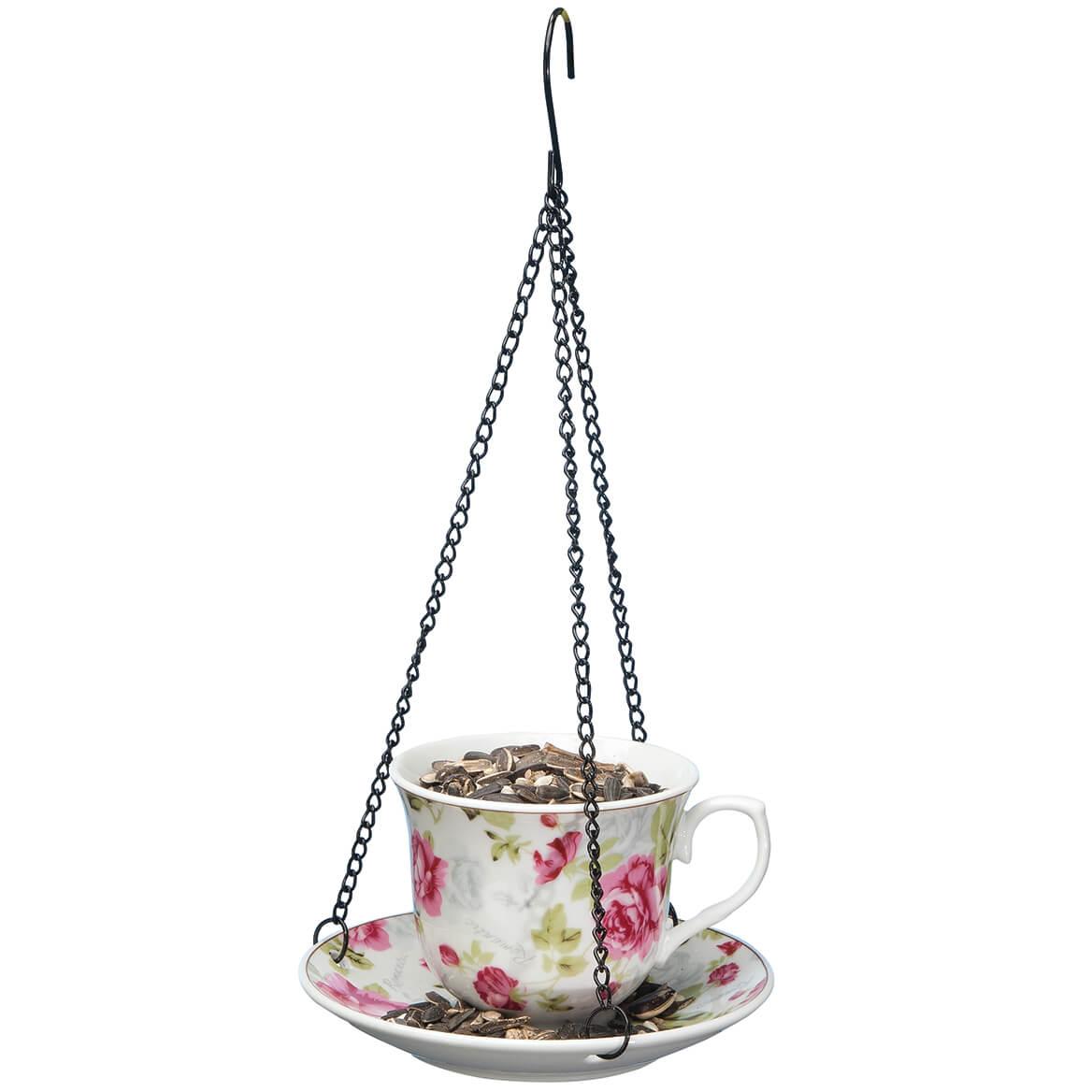 Ceramic Teacup and Saucer Bird Feeder