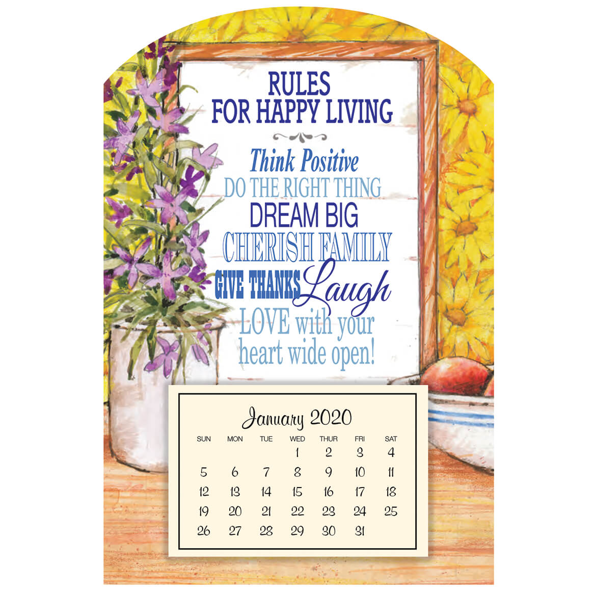 Mini Magnetic Rules Happy Living Calendar