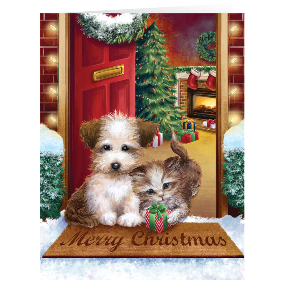 Kitten Christmas Cards.Personalized Puppy And Kitten Christmas Card Set Of 20