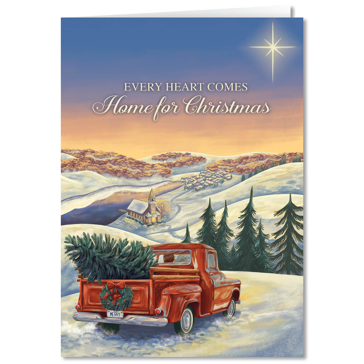 Personalized Hearts Come Home Chistmas Card Set of 20 - Miles Kimball