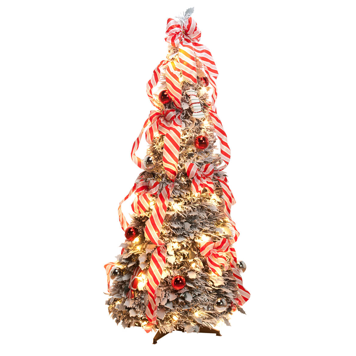 4 ft candy cane frosted pull up tree by northwoods