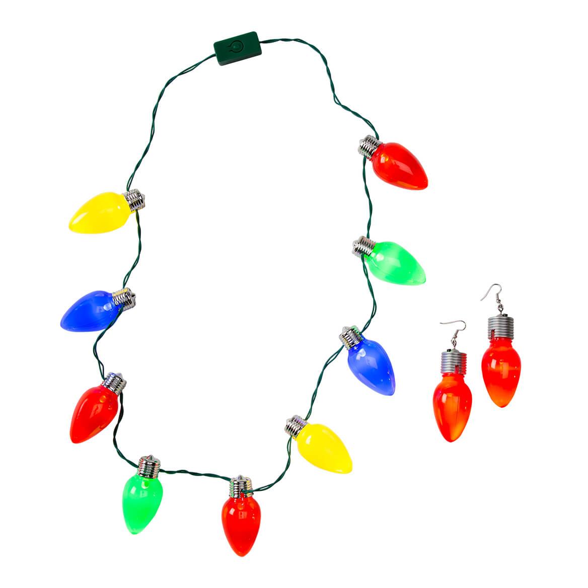Jumbo Christmas Necklights and Earrings, Set of 2