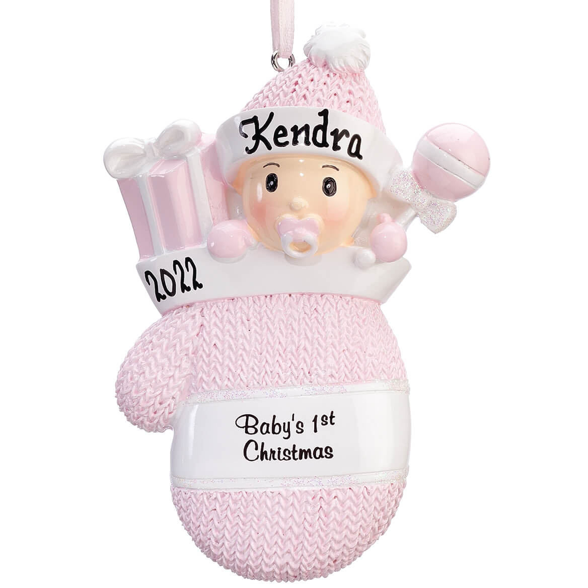 personalized babys 1st christmas mitten ornament