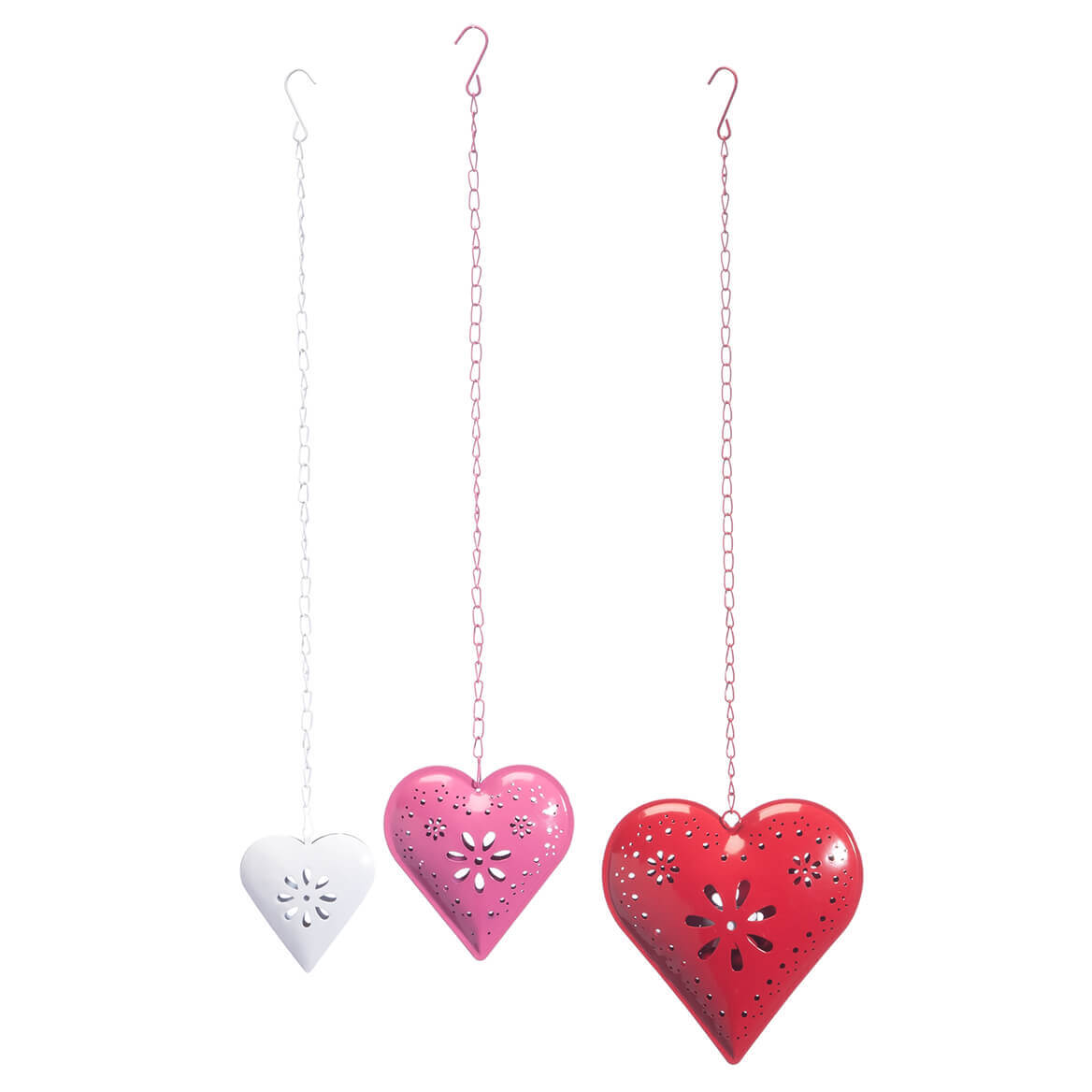 Metal Hanging Hearts, Set of 3