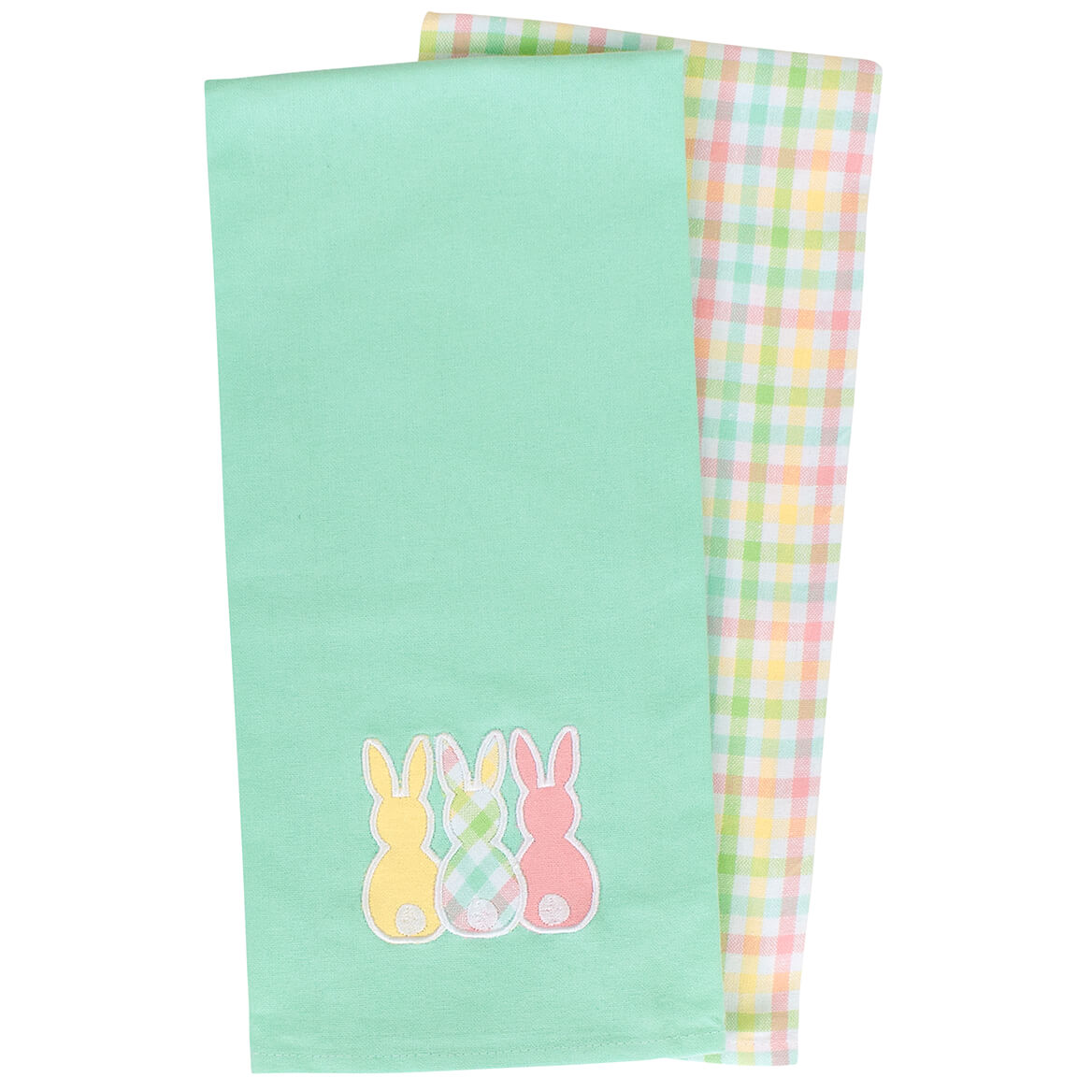 Easter Bunny Applique Woven Tea Towels Set of 2
