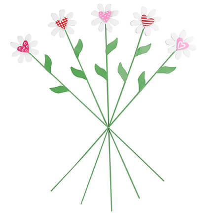 71a67d8de122 Metal Daisy Heart Stakes, Set of 5 by Maple Lane Creations™-362323 ...