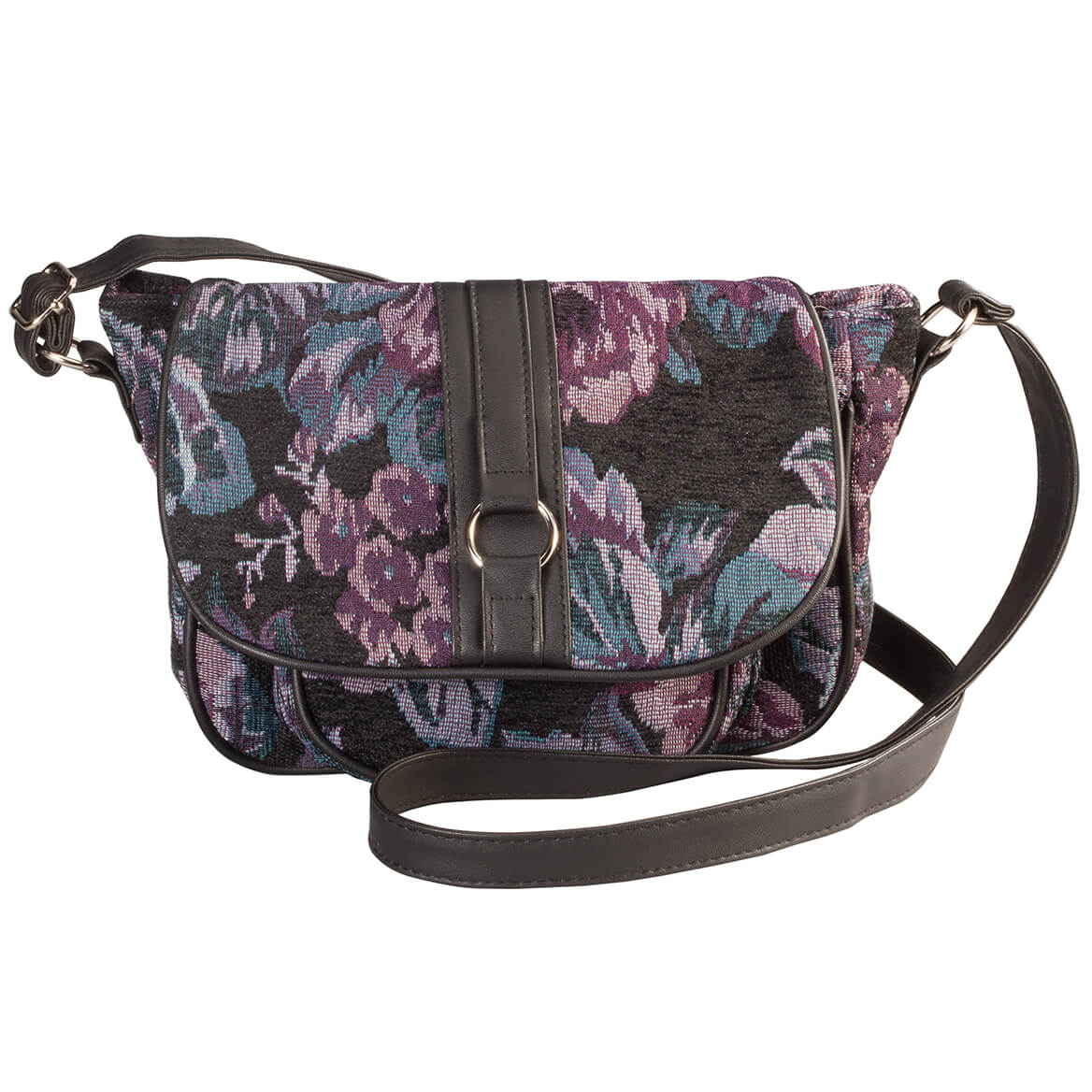 Purple Floral Tapestry Crossbody Handbag