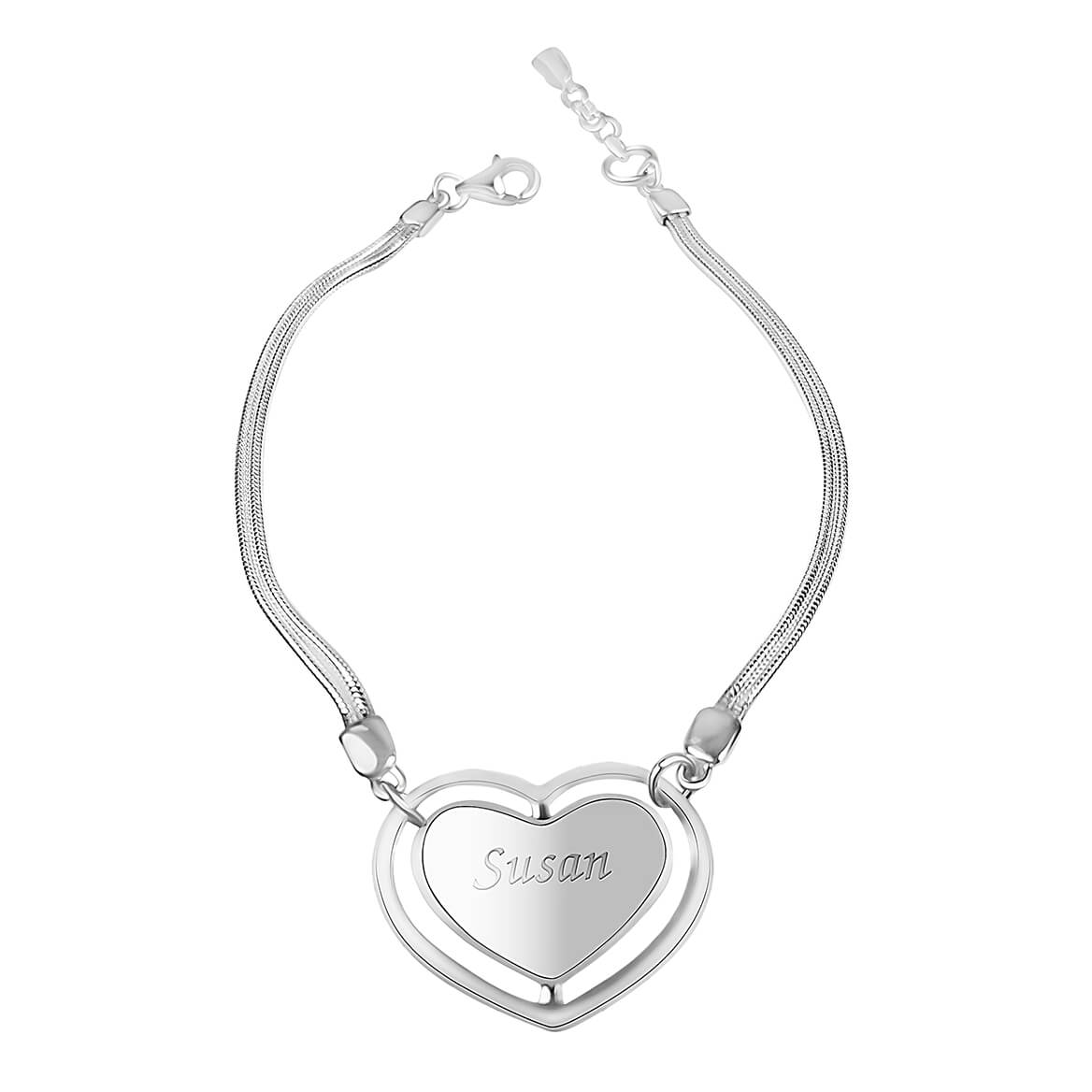Personalized Sterling Silver Heart Bracelet