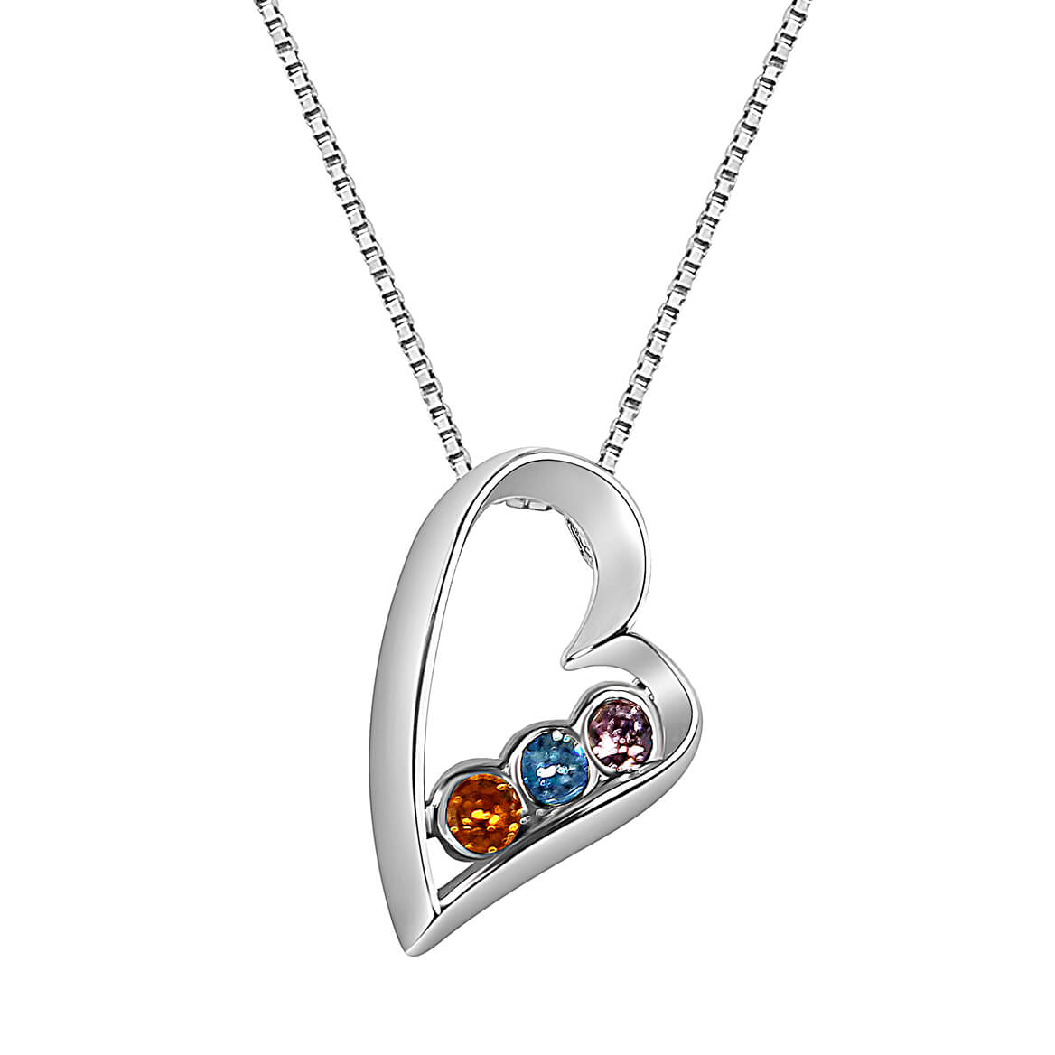 Sterling Silver Open Heart Birthstone Pendant