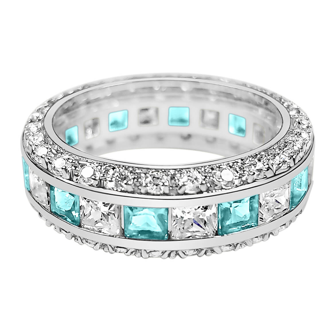 Birthstone and CZ Eternity Sterling Silver Ring