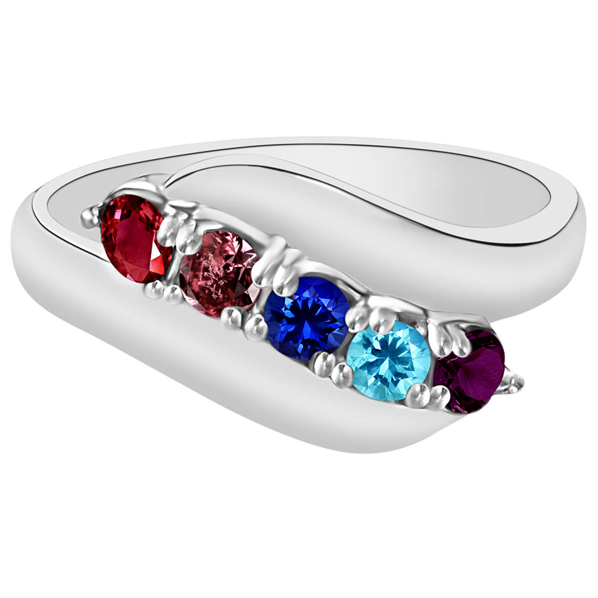Birthstone Crystal Silver-Plated Bypass Ring