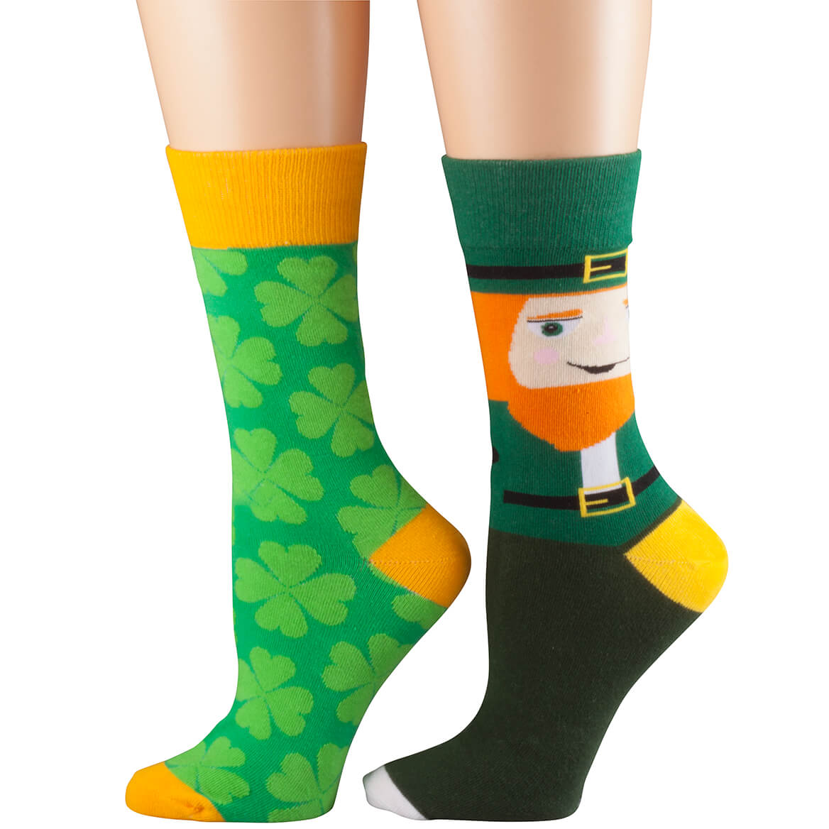 Leprechaun and Shamrock Socks, Set of 2