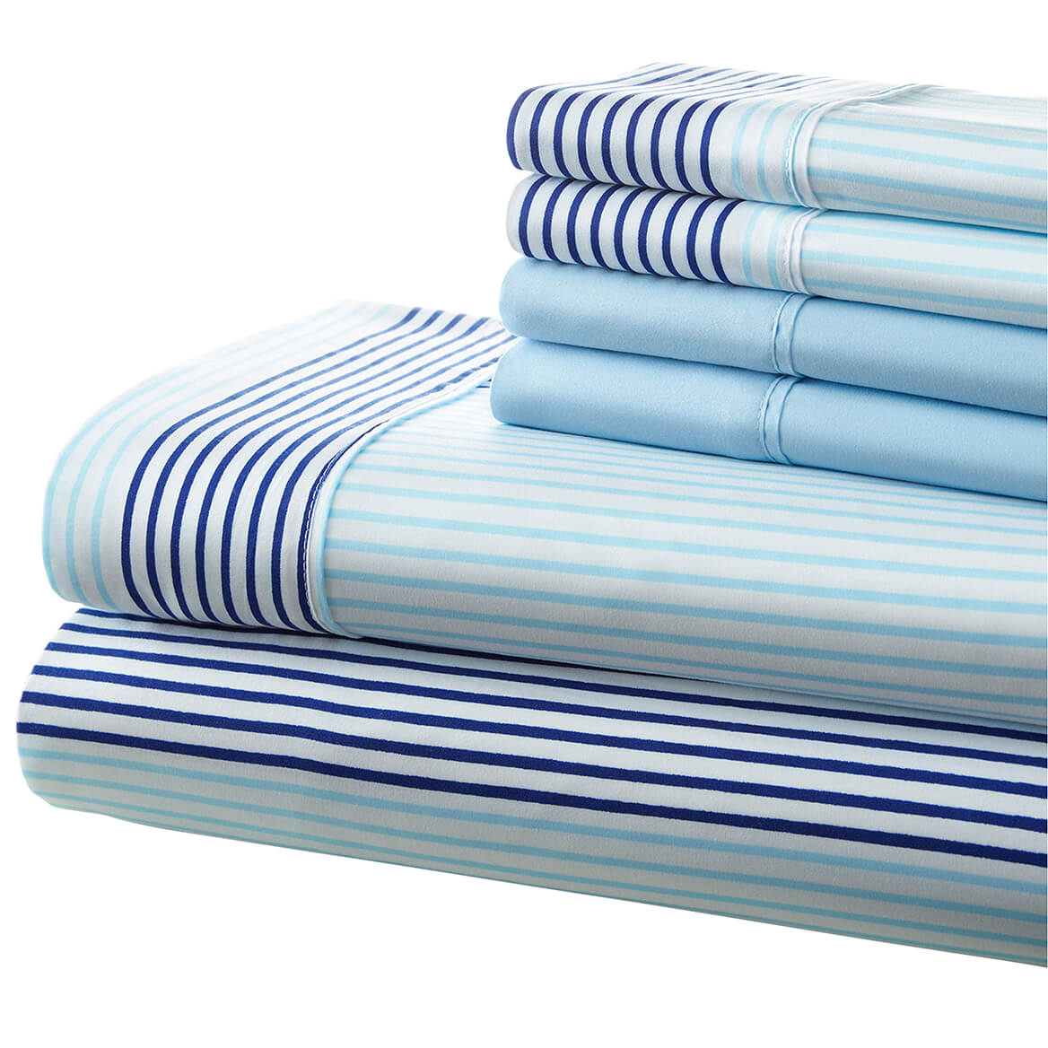 Hotel 5th Ave 90gsm Microfiber Sheet Set - Blue City Stripe