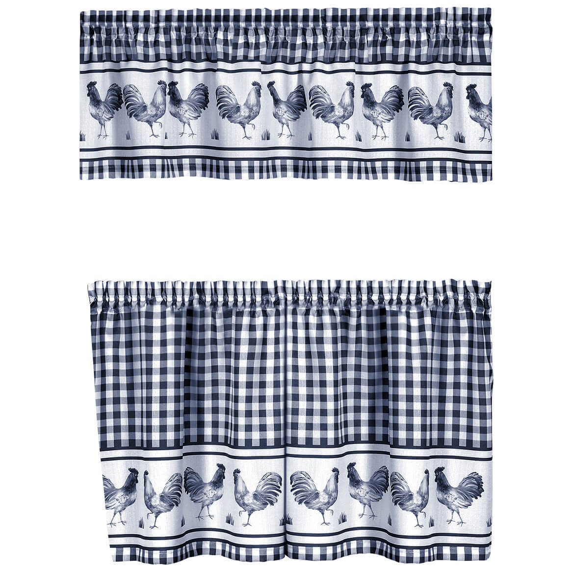 Rooster Barnyard Kitchen Tier and Valance Set