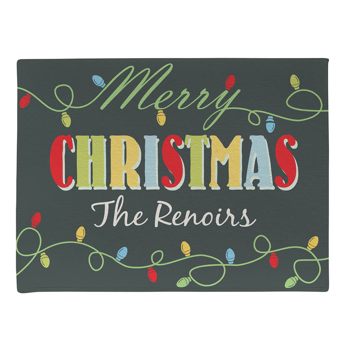 Personalized Merry Christmas Light Bulb Doormat