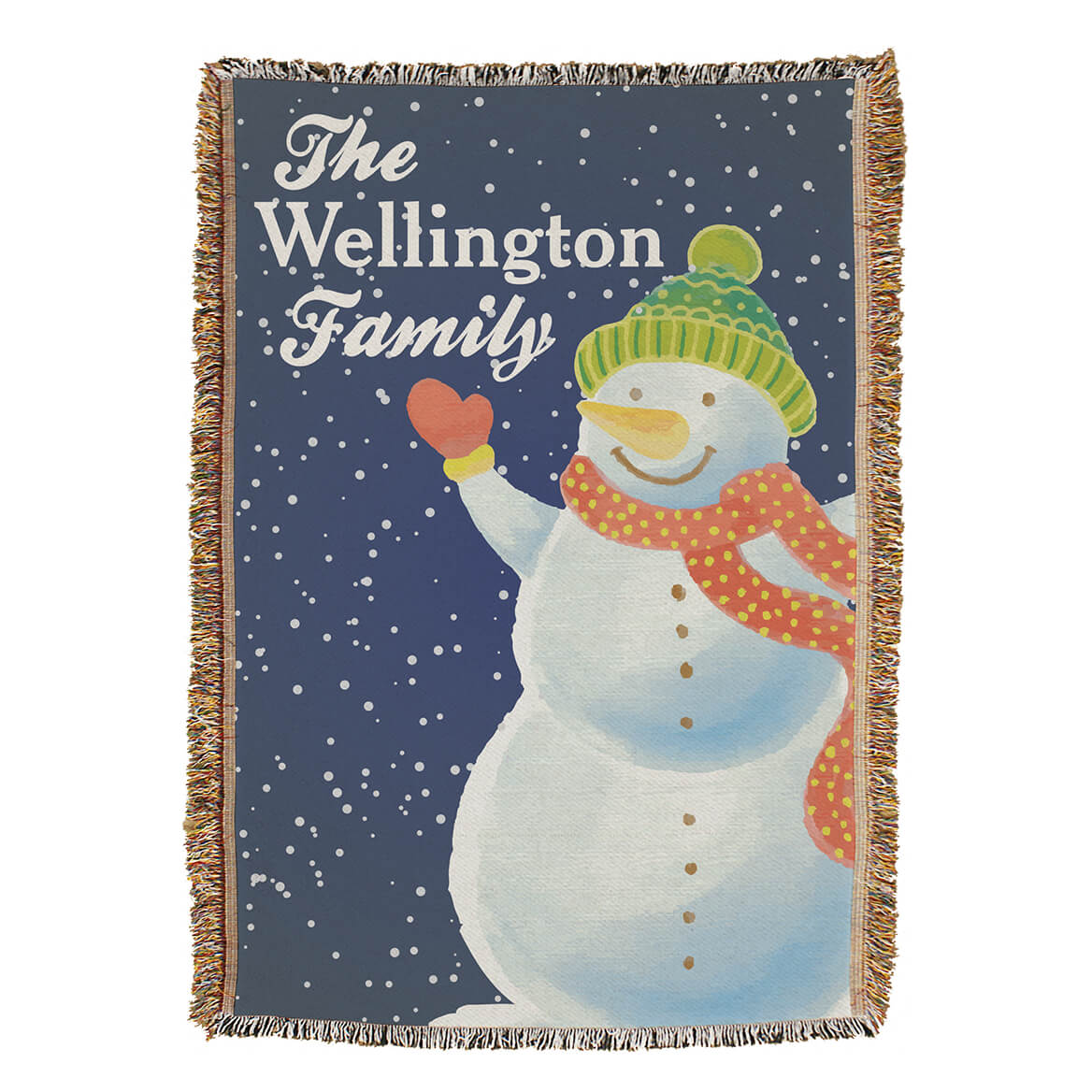 """Personalized Snowman Afghan, 54""""x 38"""""""