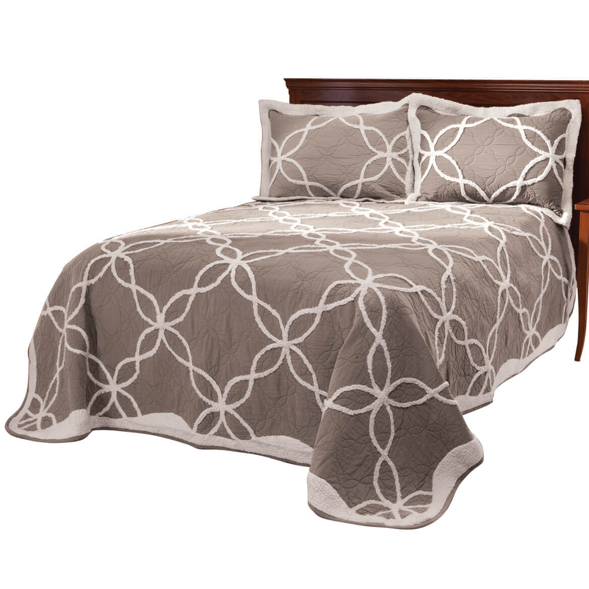 Sophie Tufted Quilt/Sham Twin Taupe by OakRidge
