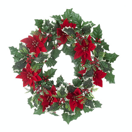 14 Poinsettia And Holly Berry Wreath By Oakridge Outdoor 363453