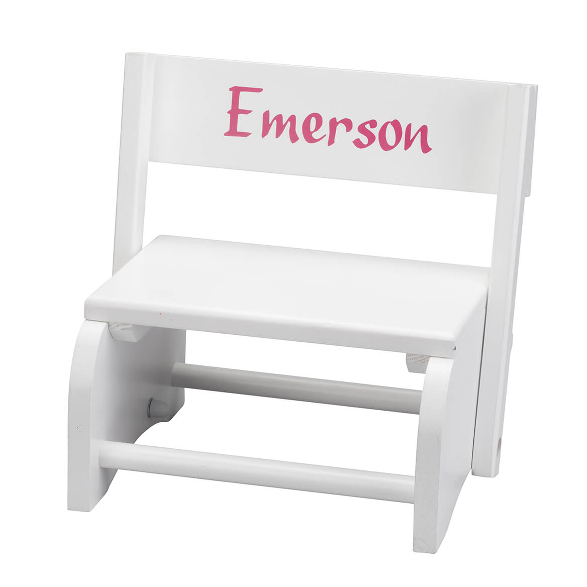 Personalized White Wooden 2-in-1 Chair and Stepstool-363555