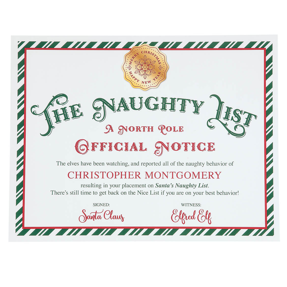 Personalized Santa Naughty List Certificate-363592