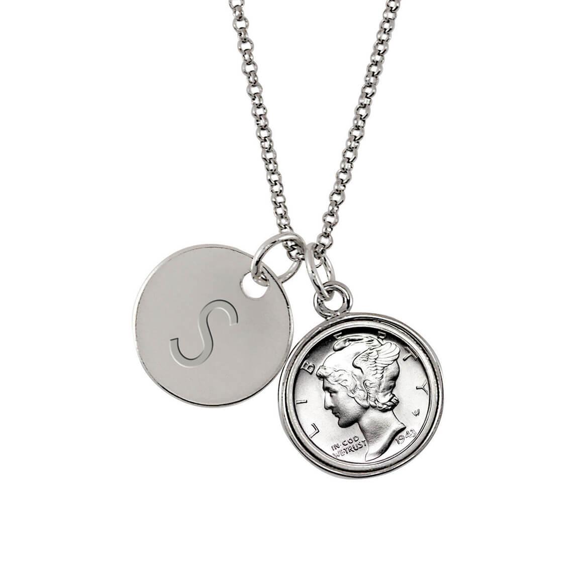 silver mercury dime silvertone personalized pendant necklace miles Silver Dollar Grading Coins silver mercury dime silvertone personalized pendant necklace