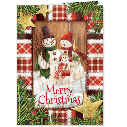 Card shoppe miles kimball personalized calico snowman christmas cards set of 20 364035 m4hsunfo