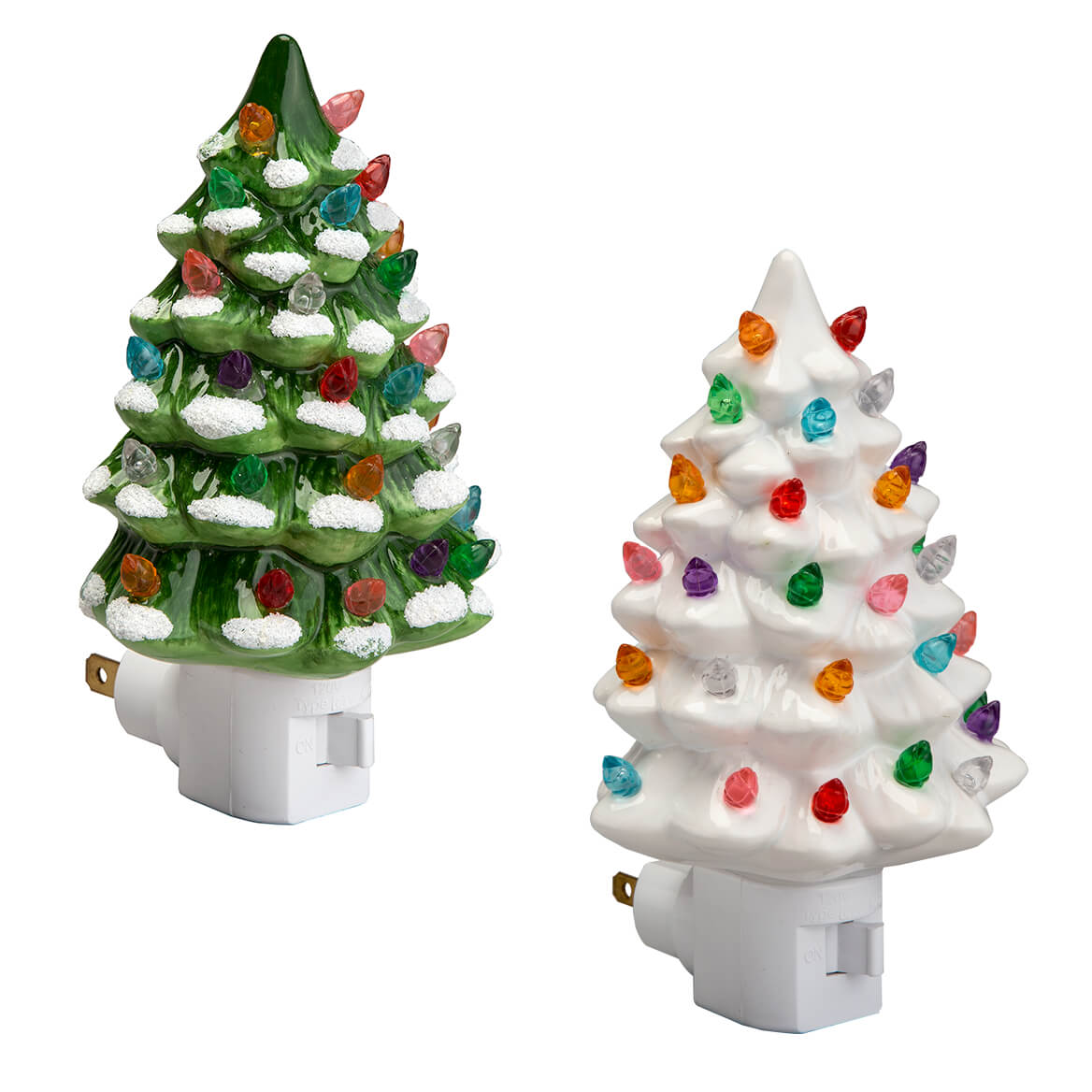 Green And White Ceramic Tree Night Lights Set Of 2