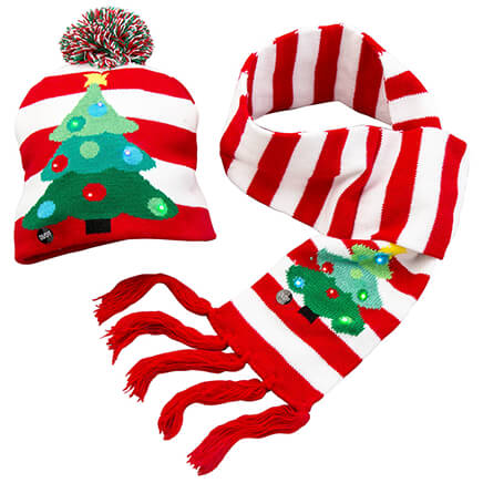 lighted christmas tree hat scarf set of 2 364126