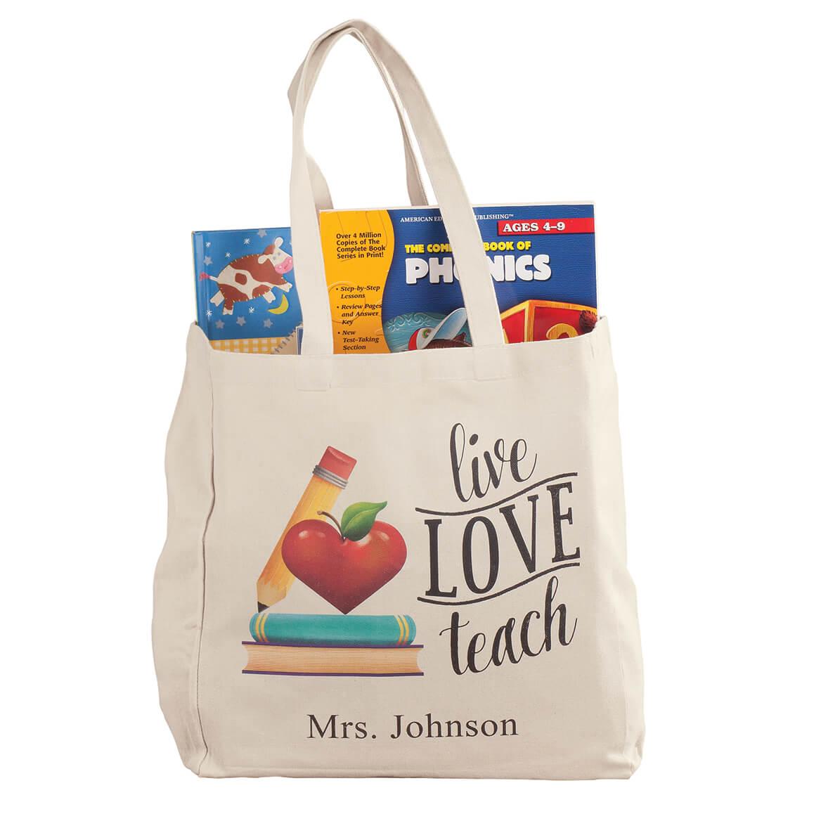 Personalized Live Love Teach Tote-364383
