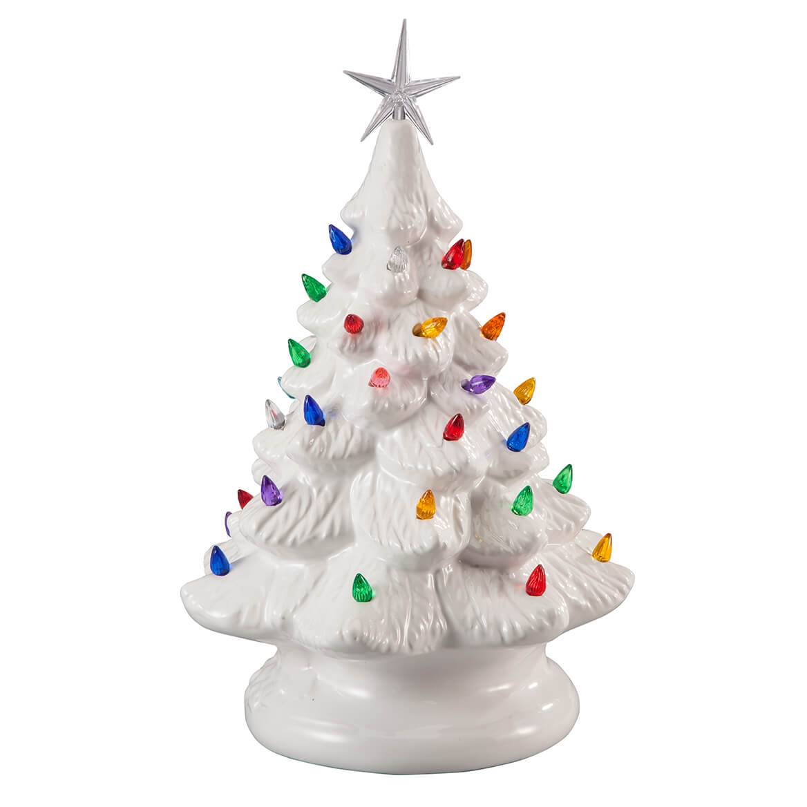 Ceramic Christmas Tree With Lights.White Ceramic Tree