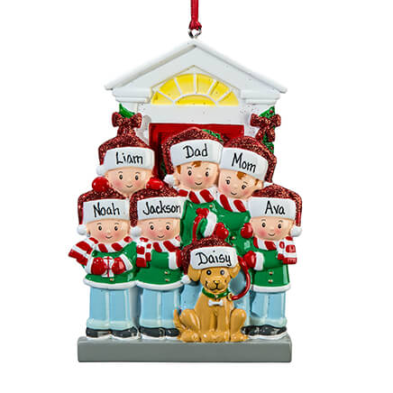 Personalized Family and Dog Ornament-364886 ... - Personalized Ornaments - Miles Kimball