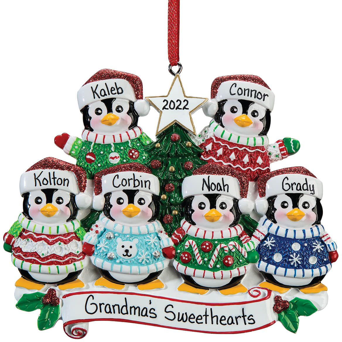 Personalized Penguins in Ugly Sweaters Ornament-364887