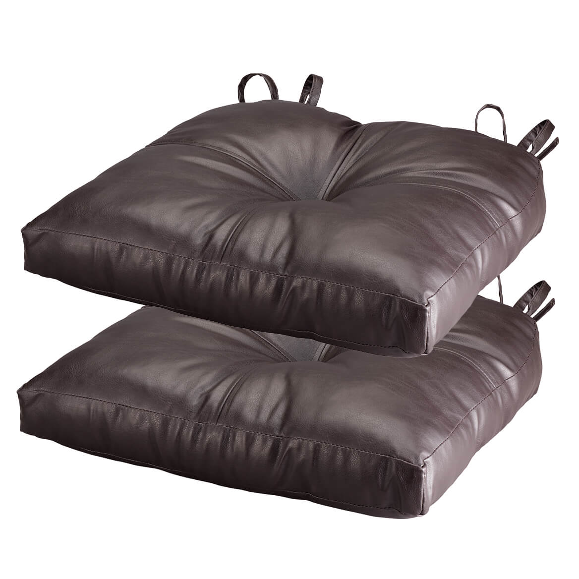Superieur Chocolate Faux Leather Chair Pad, Set Of 2