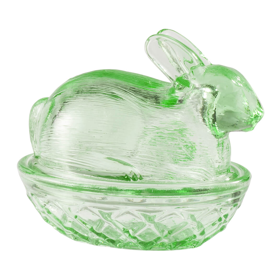 Green Glass Bunny Candy Dish-365843