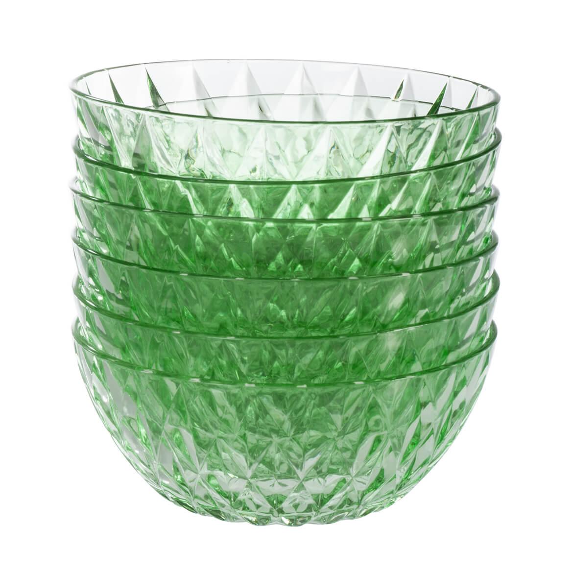 "William Roberts 6"" Glass Diamond Bowls, Set of 6-365848"