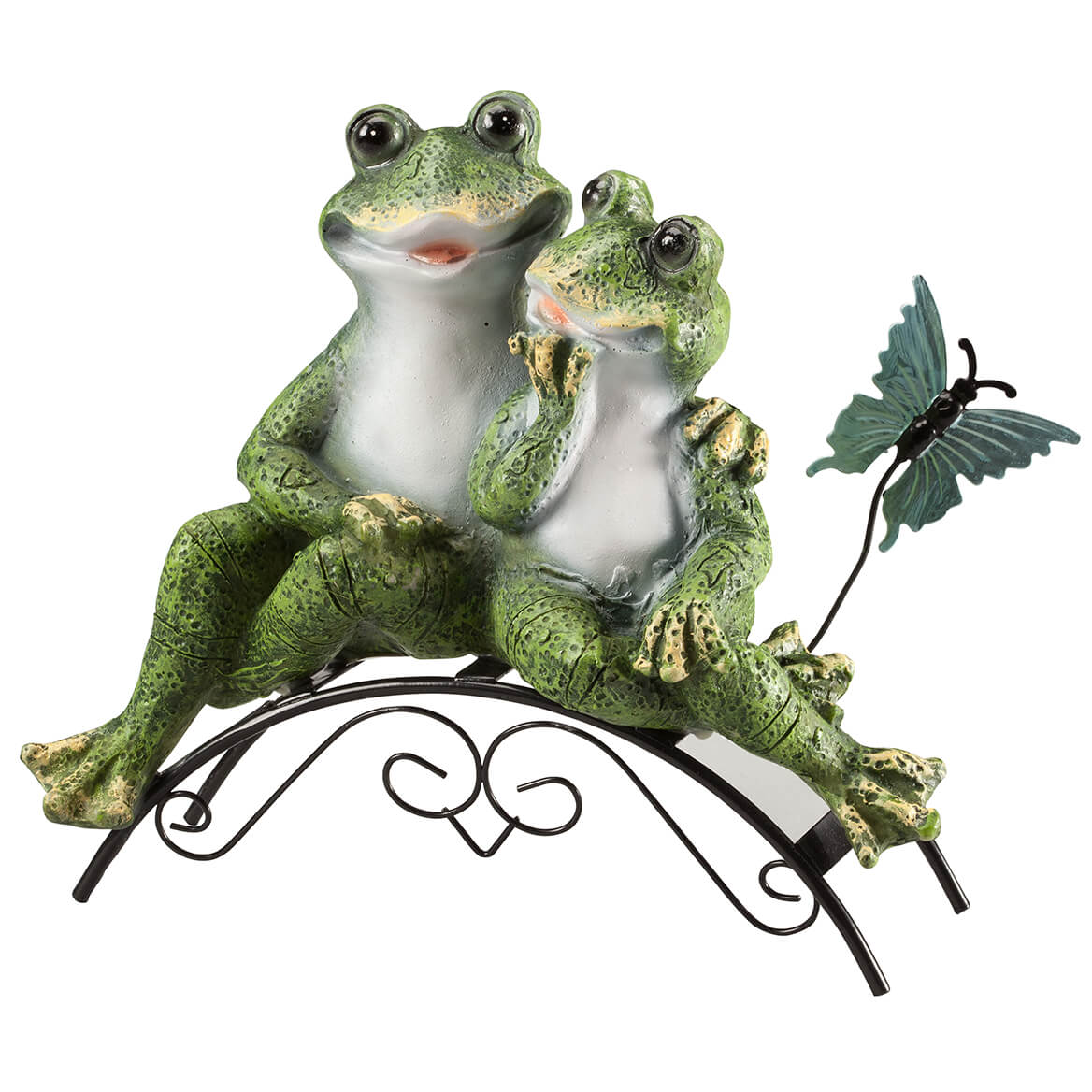 Resin Frog Couple on Bench-365879