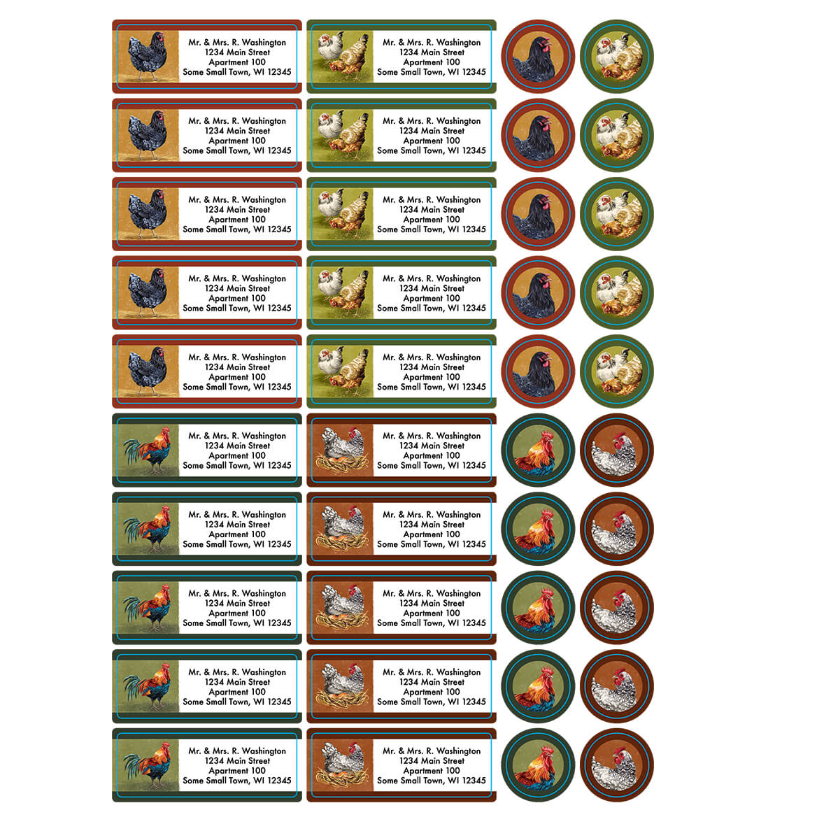 Personalized Rooster and Hens Labels and Seals, Set of 60-366168