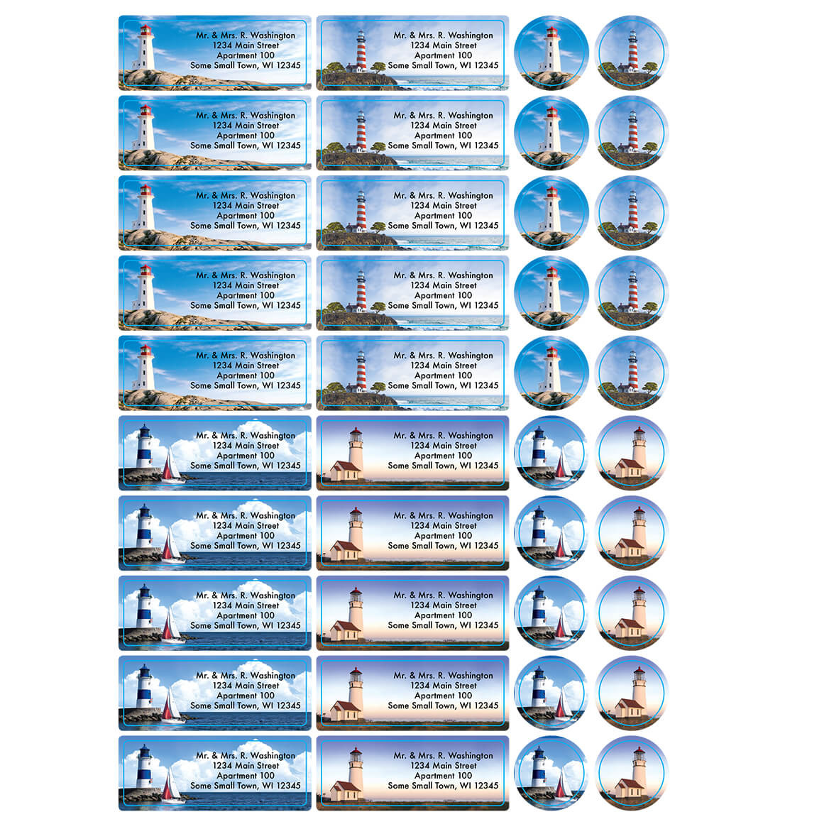 Personalized Tranquil Lighthouses Labels and Seals 60-366169