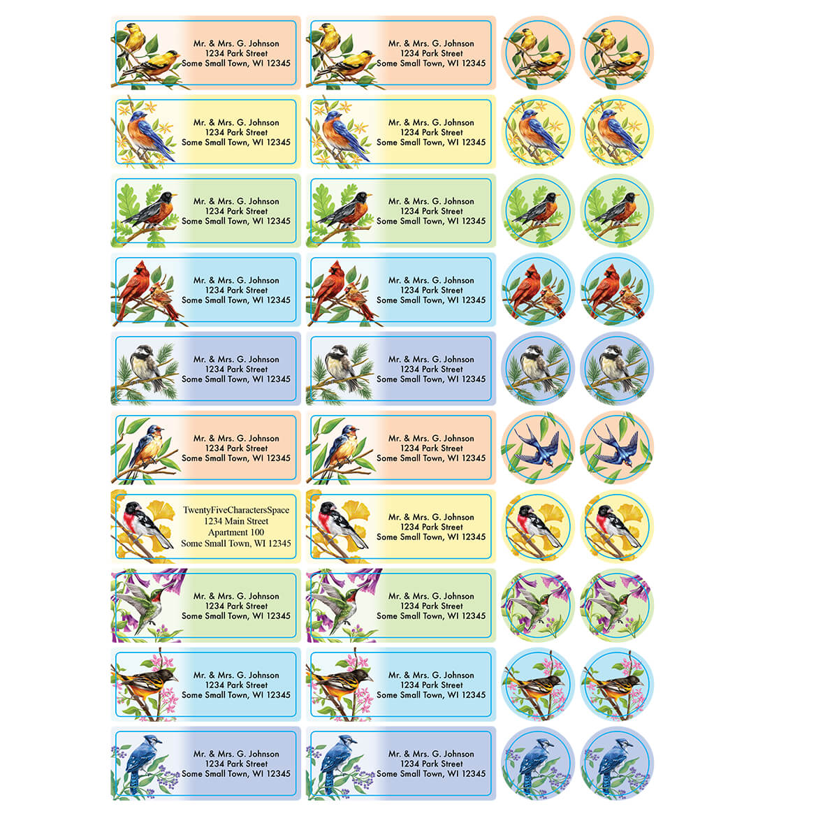 Personalized Backyard Birds Labels and Seals, Set of 60-366170